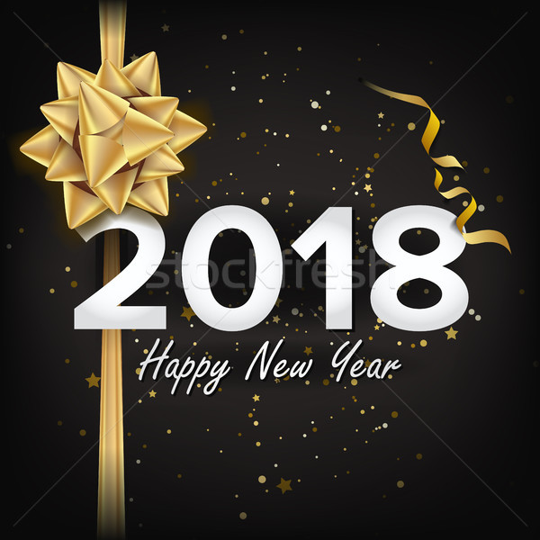 2018 Happy New Year Vector Christmas Greeting Card, Poster - new year poster template