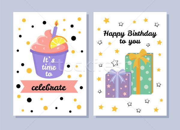 Tempo · celebrar · cartão · postal · cartões · postais · coleção