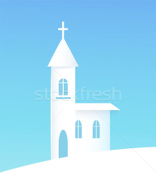 Winter Poster with Church Vector Illustration vector illustration
