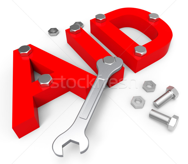 Aid Word Indicates Volunteer Charity And Assistance stock photo