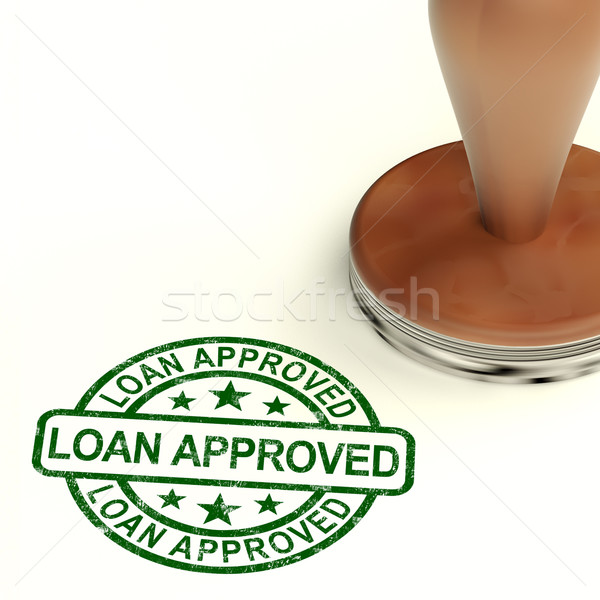 Loan Approved Stamp Showing Credit Agreement Ok stock photo - credit agreement
