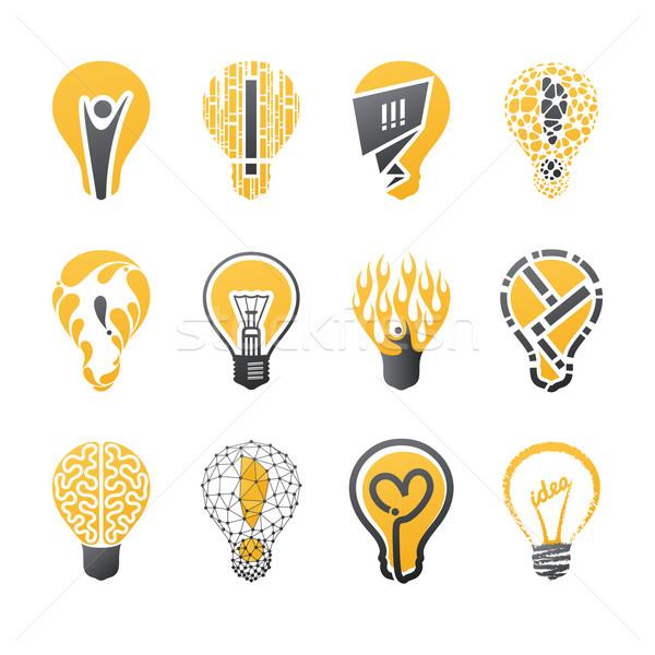 Light bulb idea Vector logo template set Collection of design