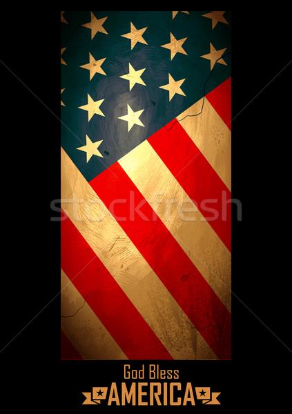 Grungy American Flag Background vector illustration © vectomart