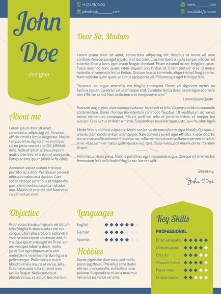 Modern cover letter resume cv with green ribbons vector illustration