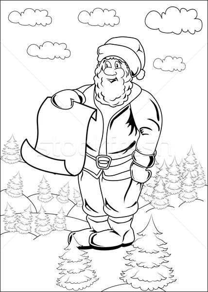 Cartoon Santa Claus Blank List Page vector illustration © Iryna - santa list blank