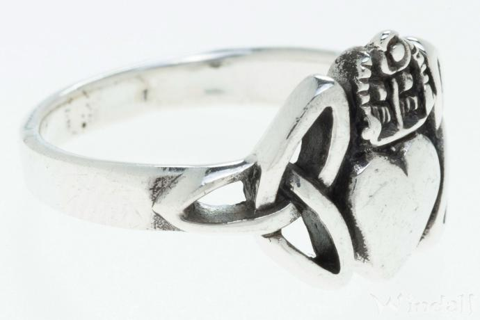 Wurzelholz Hocker Irischer Celtic Ring ~ Claddagh ~ 1.1 Cm - Solvar Ring