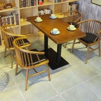 Modern Wooden Cafeteria Style Tables And Windsor Chairs ...