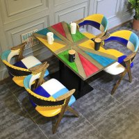 Industrial Loft Style Colourful Wood Table Chairs Group104 ...