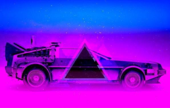 Neon Car Phone Wallpaper Wallpaper Auto Music Neon Machine Triangle Delorean