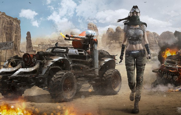 Goodfon Wallpaper Car Wallpaper Girl Weapons Rocks Transport Crossout Girl