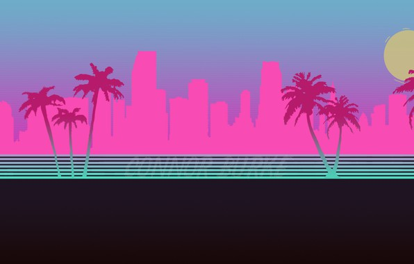 Hotline Miami Iphone Wallpaper Wallpaper The City Neon Palm Trees Silhouette