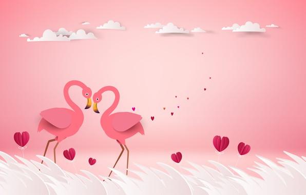 Flamingo Iphone Wallpaper Wallpaper Love Birds Rendering Pair Hearts Pink