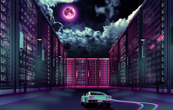 Goodfon Wallpaper Car Wallpaper Music The Moon Neon Machine Ferrari Gto