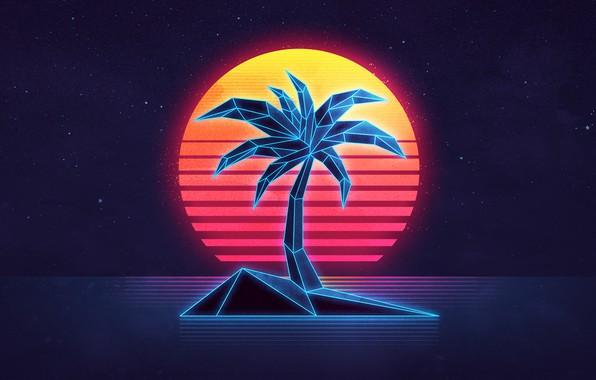 1920 Car Synthwave Wallpaper Wallpaper Sea The Sky The Sun Sunset Palma Island