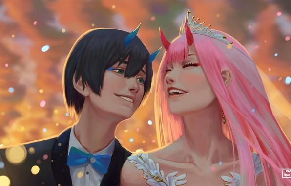 Anime Wallpaper For Ps Vita Wallpaper Wedding Hiro Darling In The Franxx Zero Two