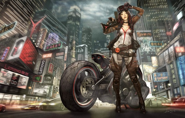 Beautiful Fiction Girl Wallpapers Wallpaper Girl The City Asian Girl Motorcycle City
