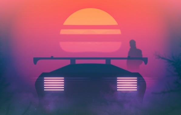 Neon Car Phone Wallpaper Wallpaper Sunset The Sun Auto Music Machine Star