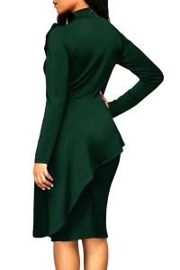 Trendy Turtleneck Bow-Tie Design Green Polyester Sheath ...