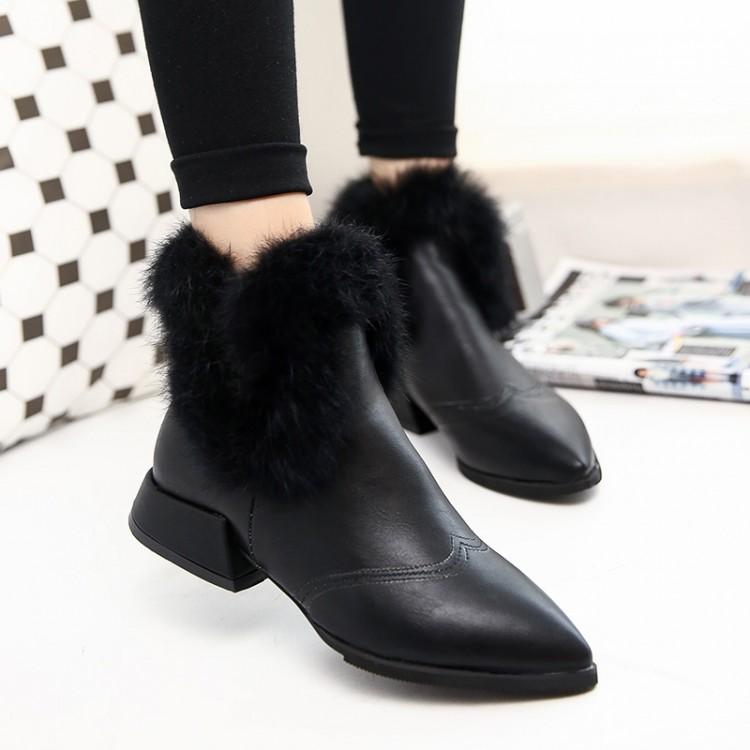 Fashion Winter Pointed Toe Zipper Design Flat Low Heel