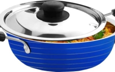 CookAid Stainless Steel with Lid Kadhai 1.2 L