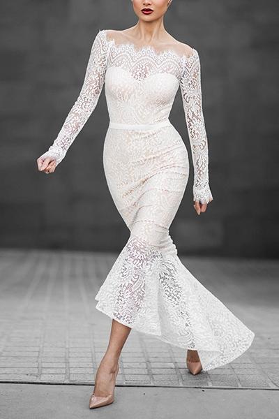 Ladylike Bateau Neck Long Sleeves Asymmetrical White Lace
