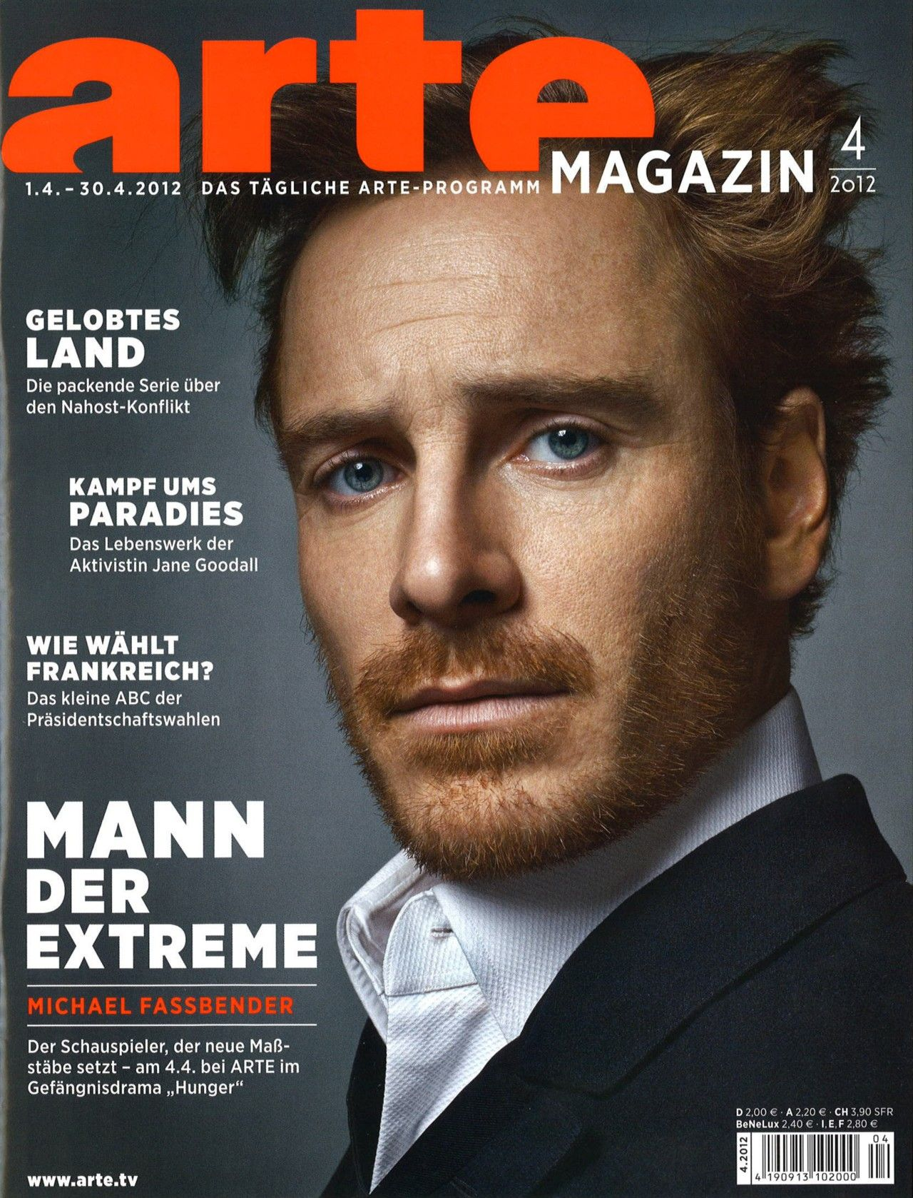 Arte Journal Programm Michael Fassbender Arte Magazin Magazine April 2012 Cover Photo