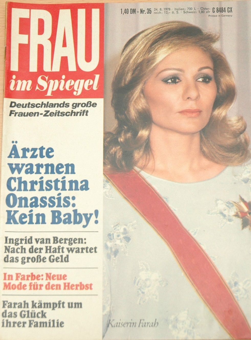 Spiegel 24 Empress Farah Frau Im Spiegel Magazine 24 August 1978 Cover Photo
