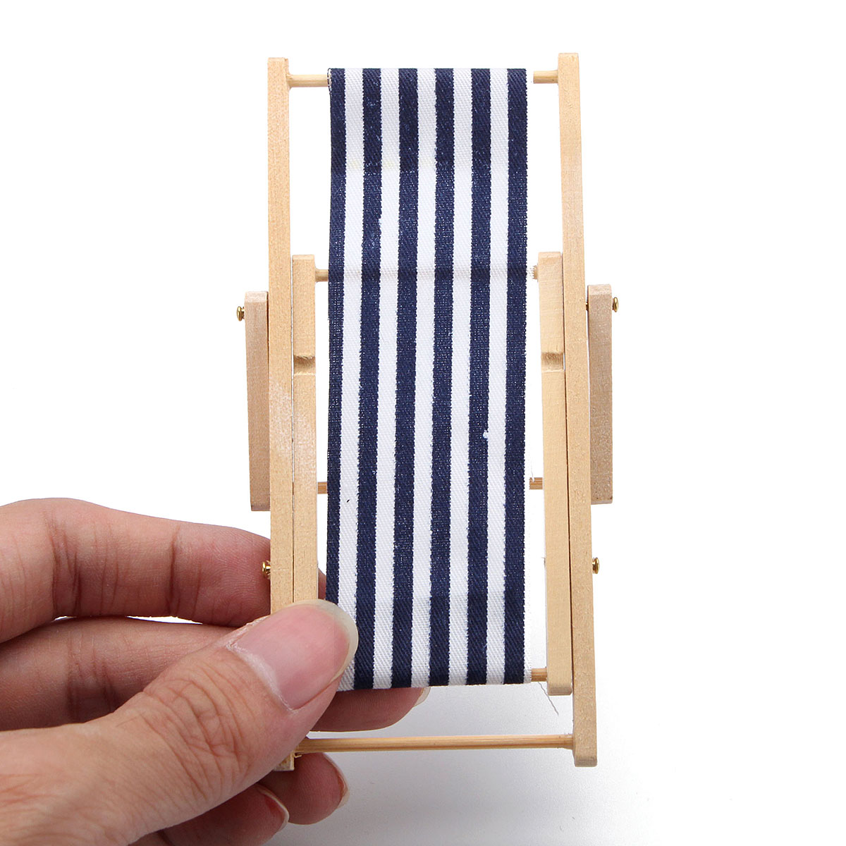 Chaise Design Miniature 1 12 Blue White Beach Chair Chaise Longue Foldable Dollhouse Miniature Decor Toy