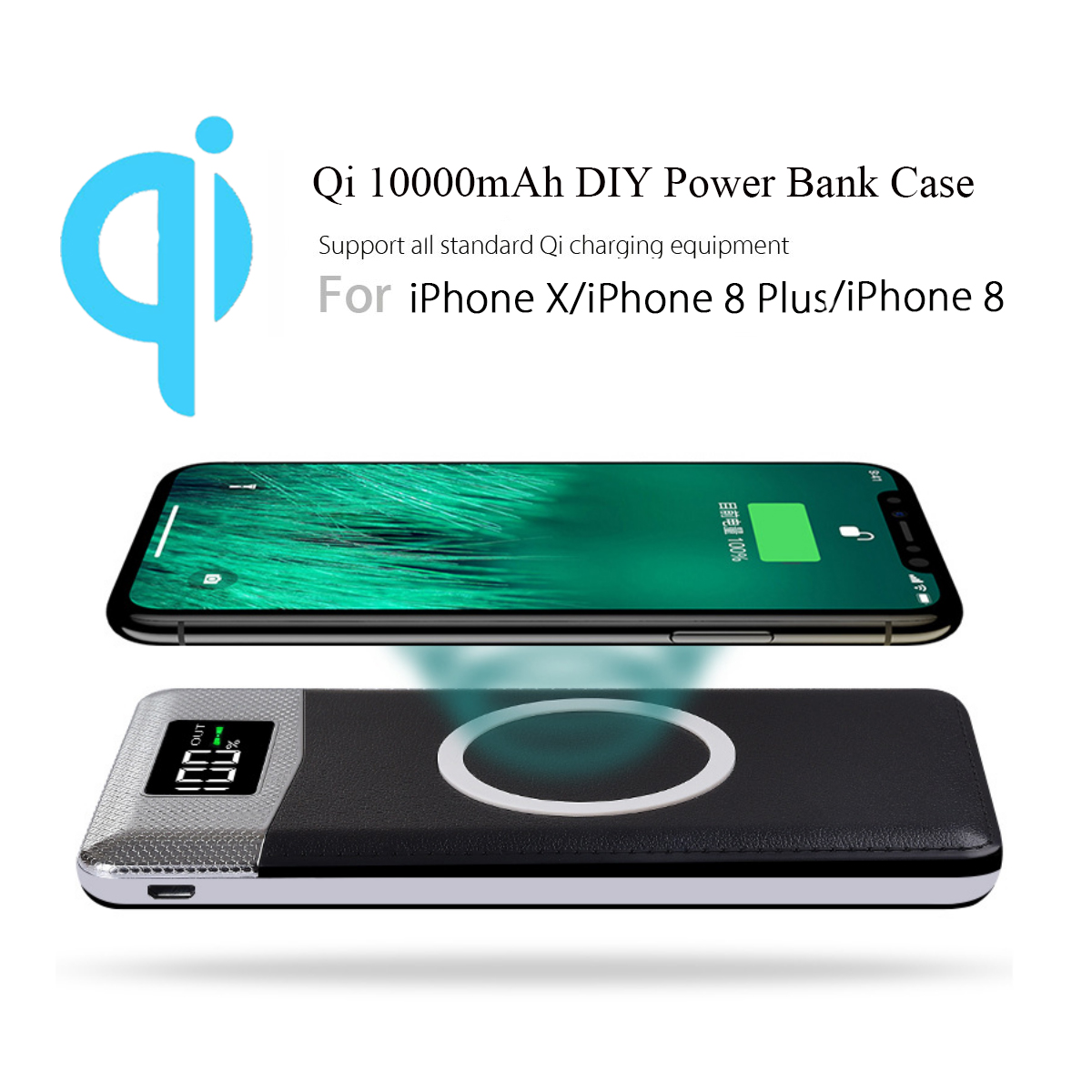 Diy Power Bank 1000mah Qi Wireless Charging Charger Power Bank Diy Plastic Case Case With Flashlight