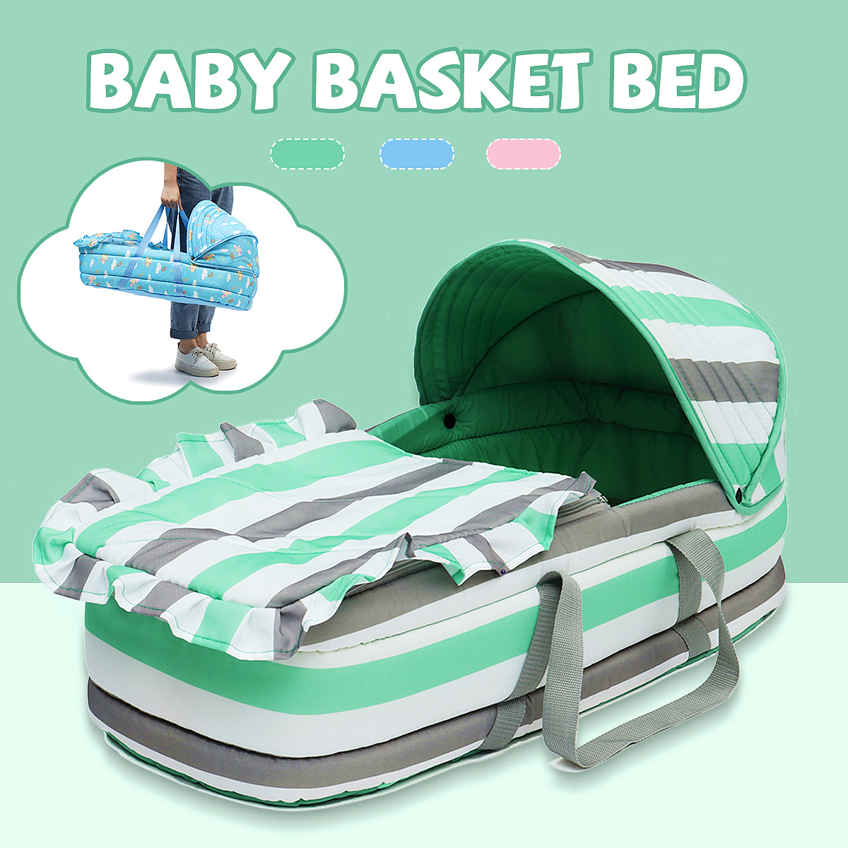Baby Bassinet Moses Basket Portable Newborn Baby Infant Moses Basket Bed Baby Cradle Bassinet Travel Comfortable