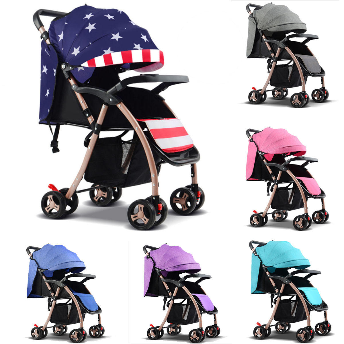 Newborn Baby Buggy Reviews Foldable Baby Kids Stroller Newborn Infant Awning Pushchair Buggy Travel Pram Lightweight Compact Strollers