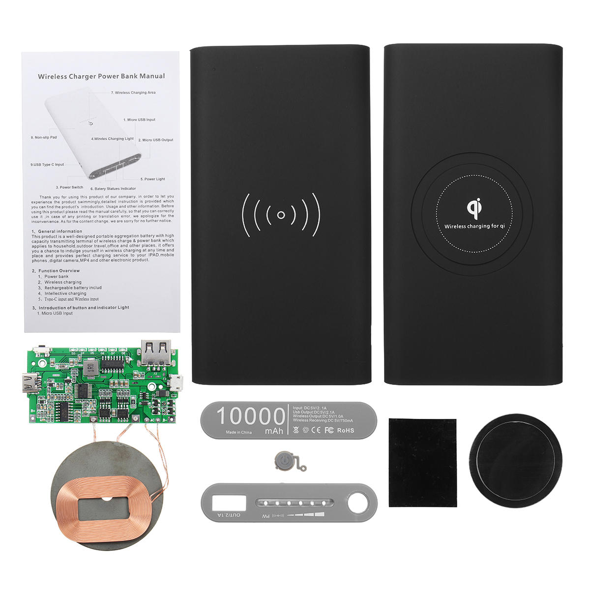 Diy Bank Holiday Offers Qi Power Bank Diy Case Kit Wireless Charging Usb Type C Port For Mobile Phone
