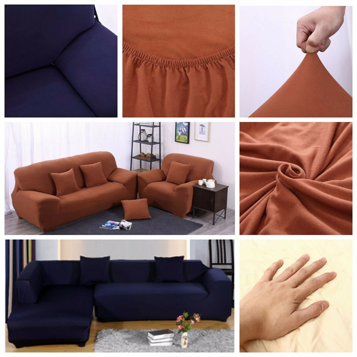 Groupon Canape D'angle Pas Cher L Shape 3 Seat Stretch Elastic Fabric Sofa Cover Pet Dog Slipcovefurniture Protector
