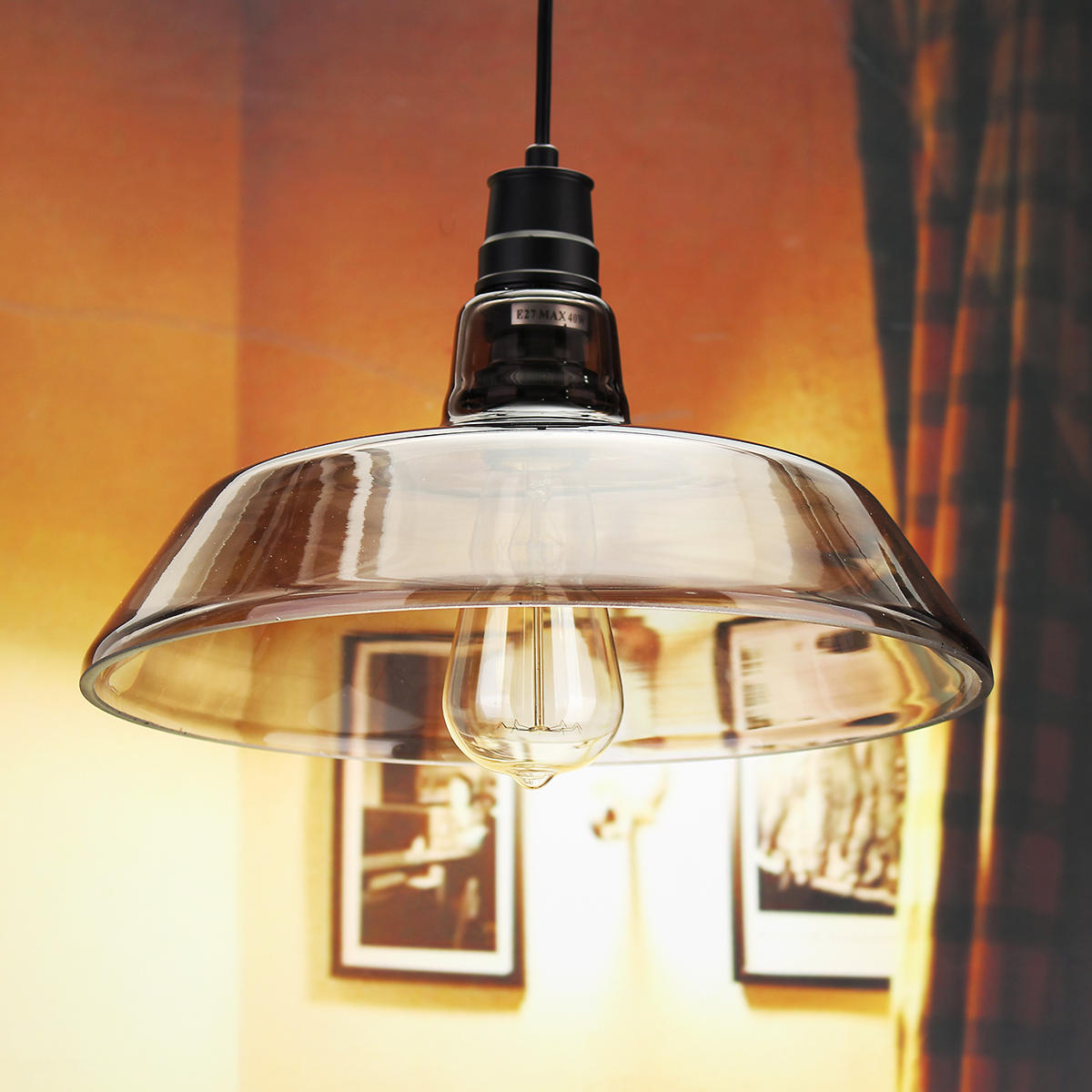 Glass Edison Lamp Industrial Retro Vintage Pipe Glass Edison Bulb Pendent Ceiling Light Bar Living Room Lamp