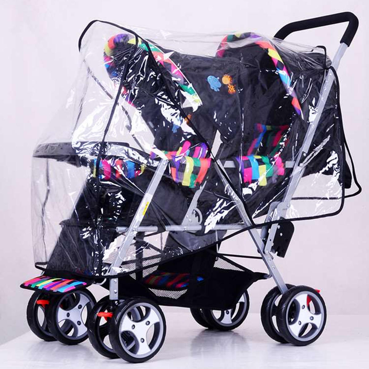 Double Stroller Rain Cover Clear Stroller Rain Cover Weather Pram Baby Infant Double Pushchair Wind Shield Raincoat
