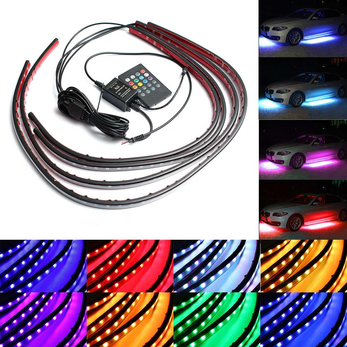 Led Light Strips Rgb 4pcs Waterproof Rgb Car Led Decoration Lights Strip Underglow Neon Lamp Kit 12v With Remote Control