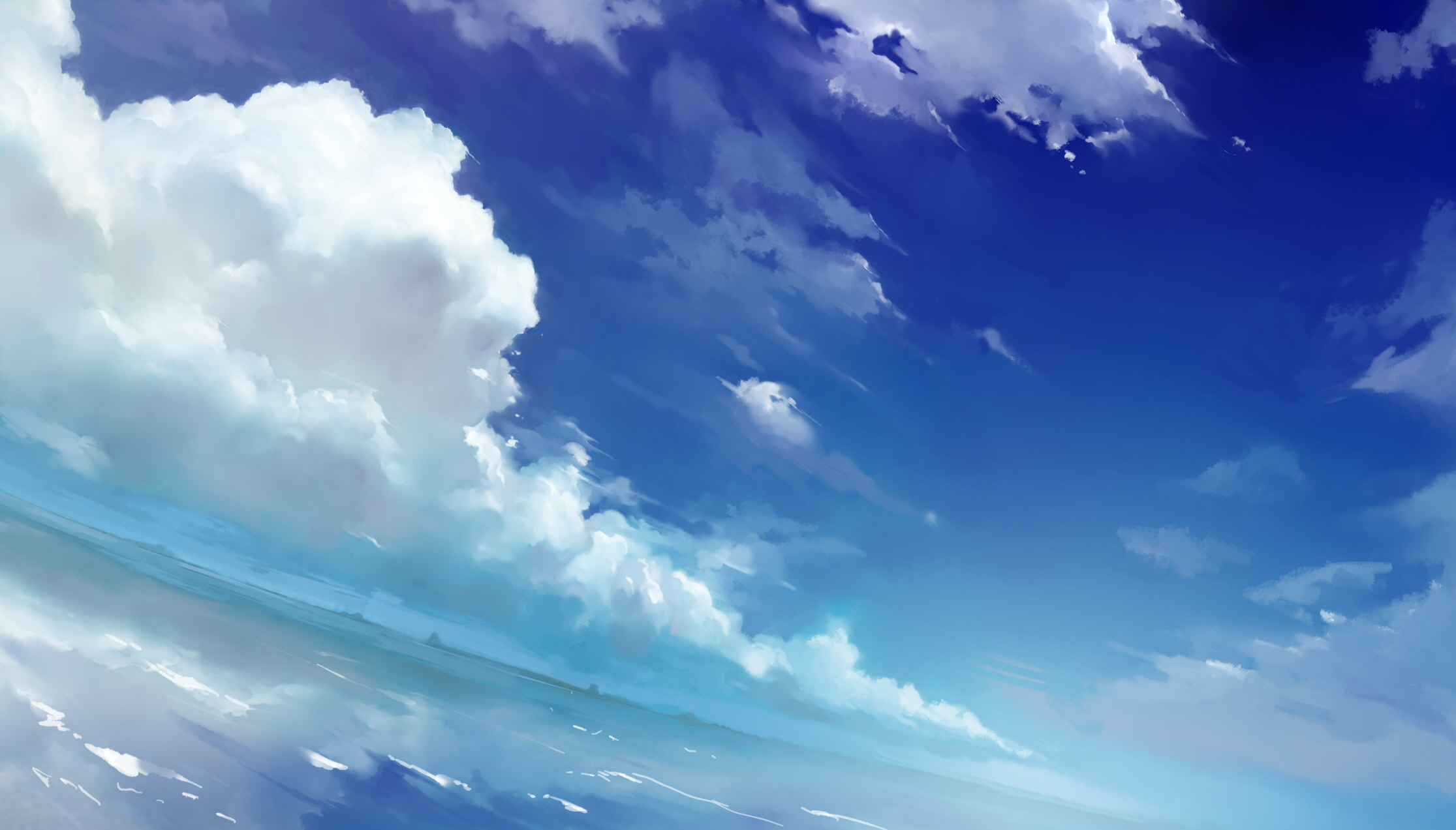 Sky Anime Anime Sky And Clouds Wallpaper 2231x1273 Id 51390