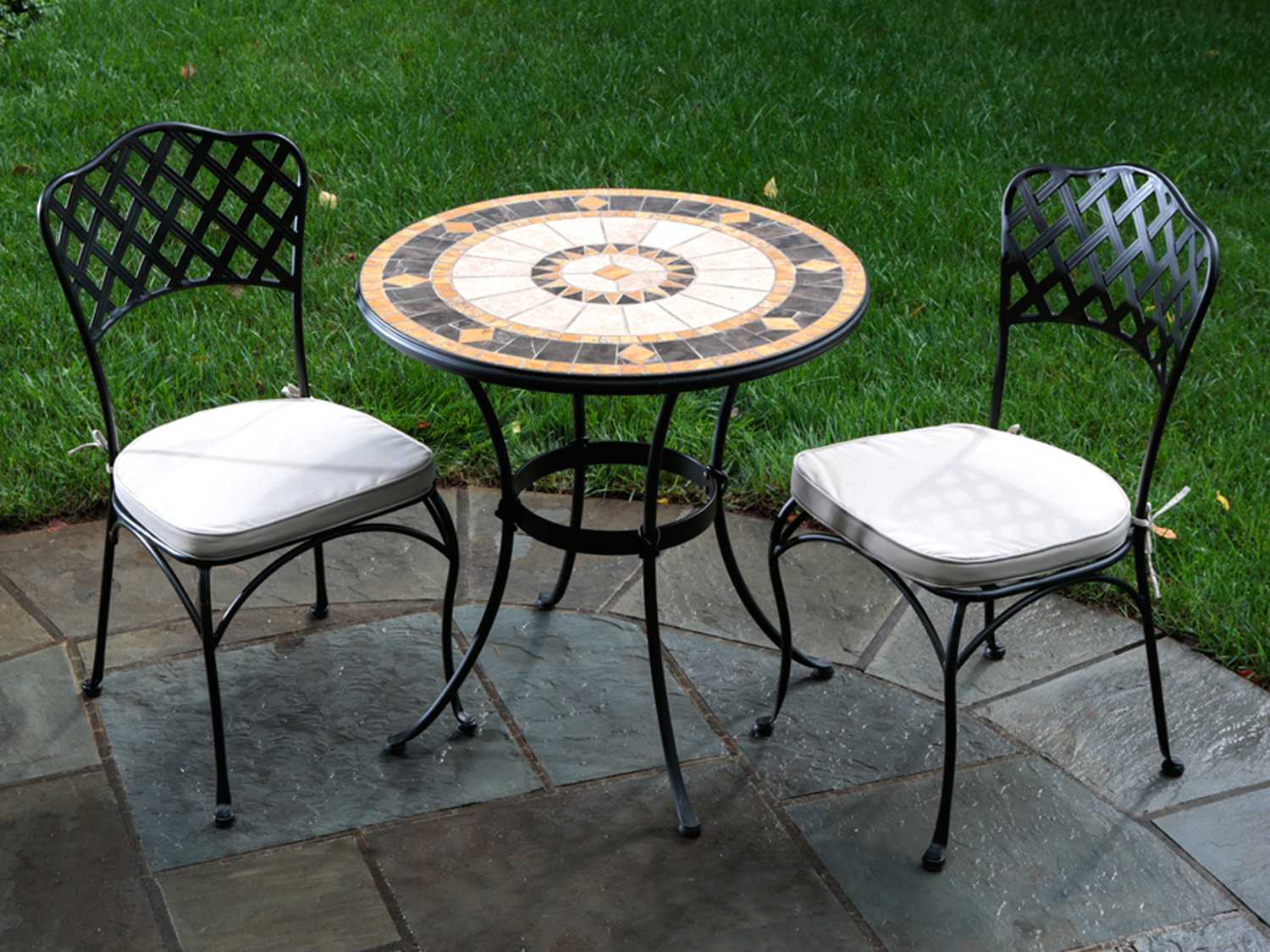 Wrought Iron 3 Piece Outdoor Setting Alfresco Home Compass Wrought Iron Mosaic 3 Piece Bistro