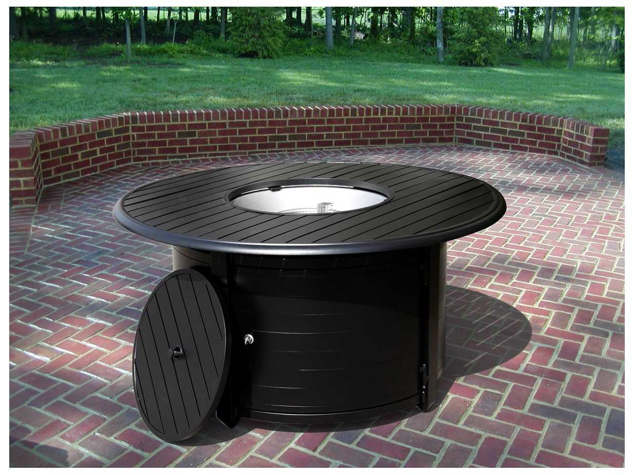 Az Patio Heaters Round Slatted Aluminum Firepit F 1350 Fpt