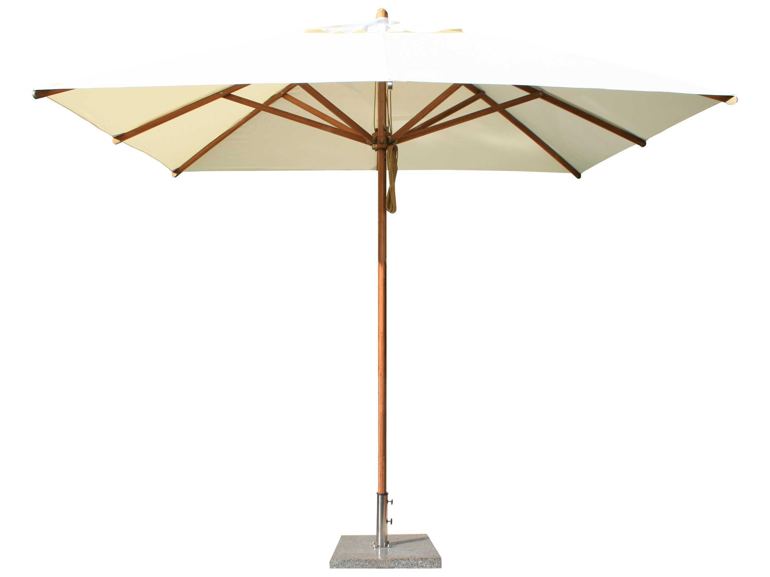 Bambrella Levante Wood 1039 Square Pulley Lift Umbrella 3