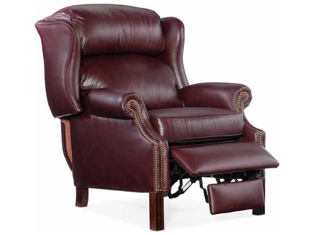 Bradington Young Chippendale Burgundy Mahogany Pushback Recliner Wing Chair Brdbyx411498000869mhfn