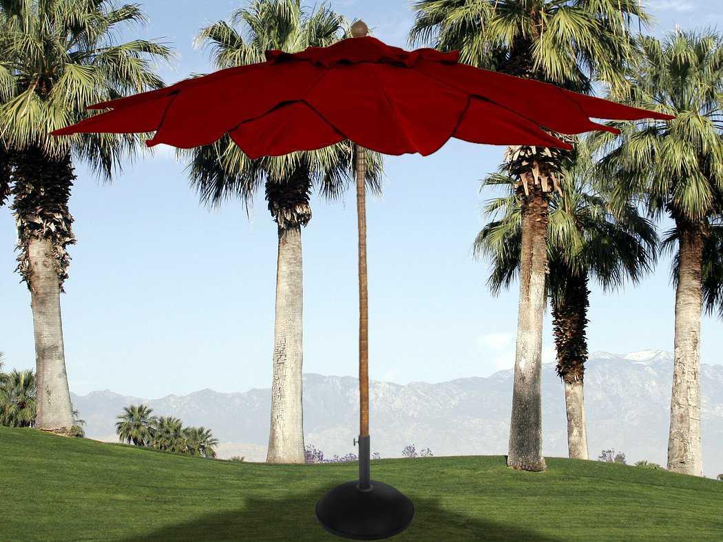 Fiberbuilt Palm Fiberteak 1139 Leaf Pulley Wood Umbrella