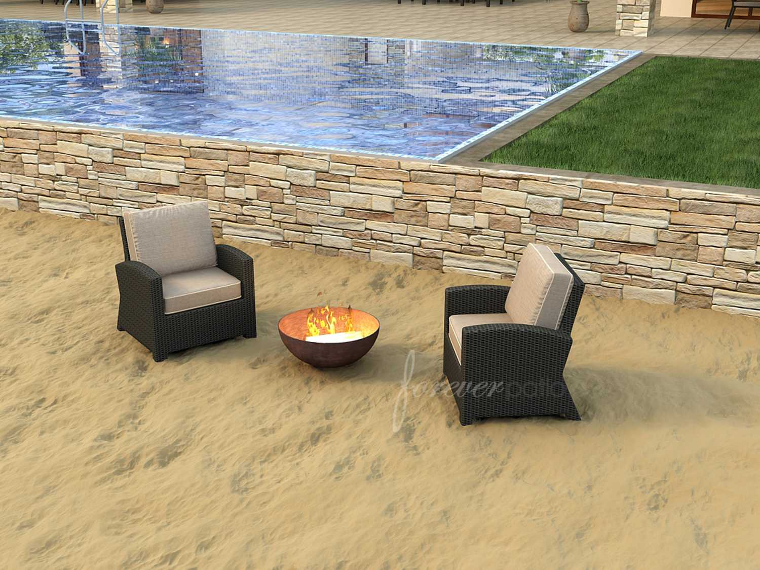 Pergola Cheb Forever Patio Barbados Ebony Wicker Two Piece Lounge Set
