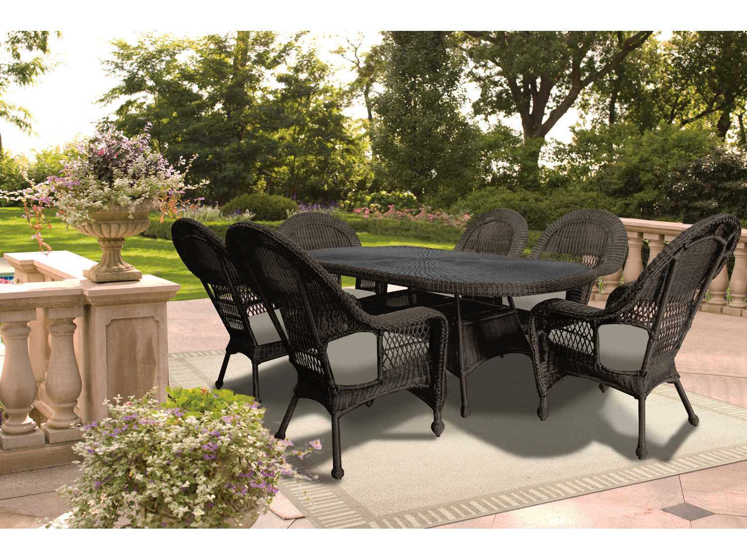 7 Piece Round Patio Dining Set Forever Patio Catalina Wicker 7 Piece Round Dining Set In