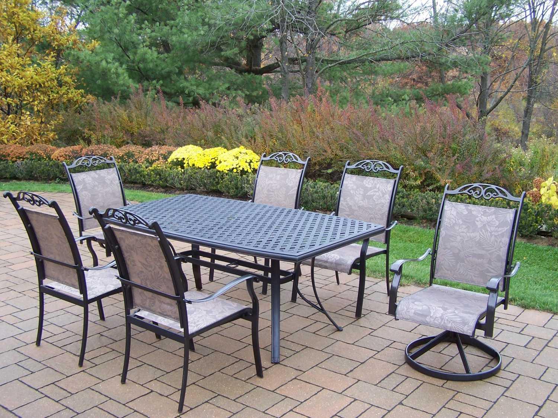 Oakland Living Cascade Aluminum 7 Piece Dining Set 2136t