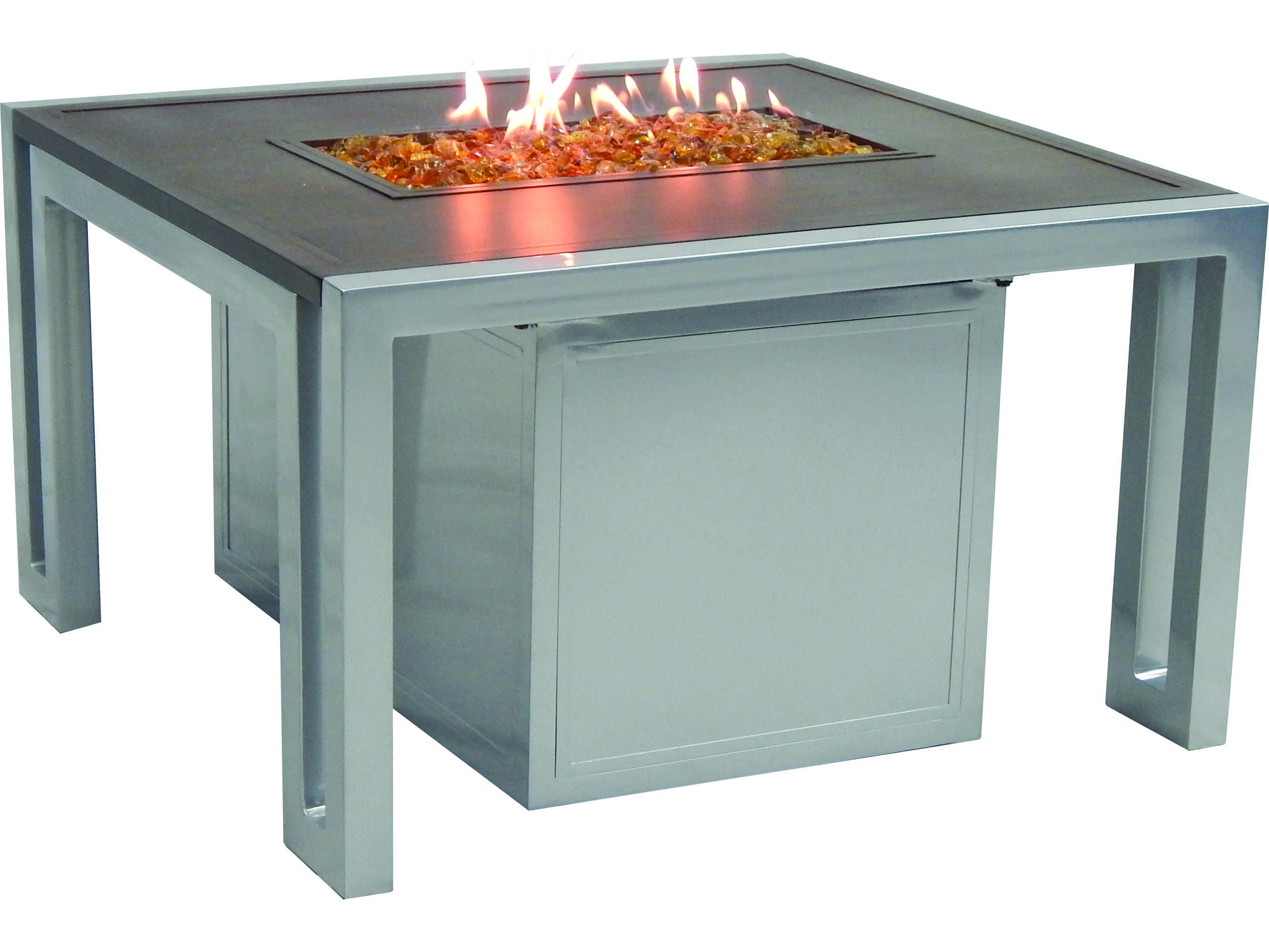 Castelle Icon Firepit Cast Aluminum 32 Square Coffee Table