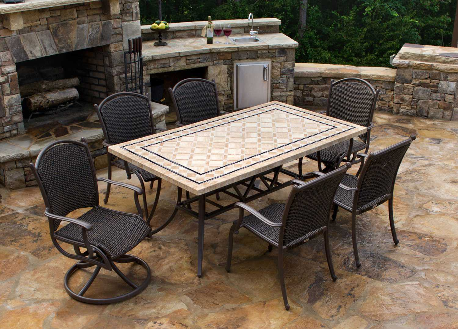Tortuga Outdoor Marquesas Wicker 7 Piece Dining Set Mqs 7pc