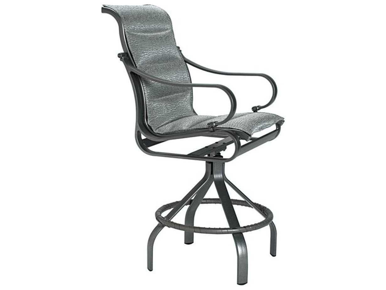 Patio Torino Tropitone Torino Padded Sling Aluminum Swivel Bar Stool