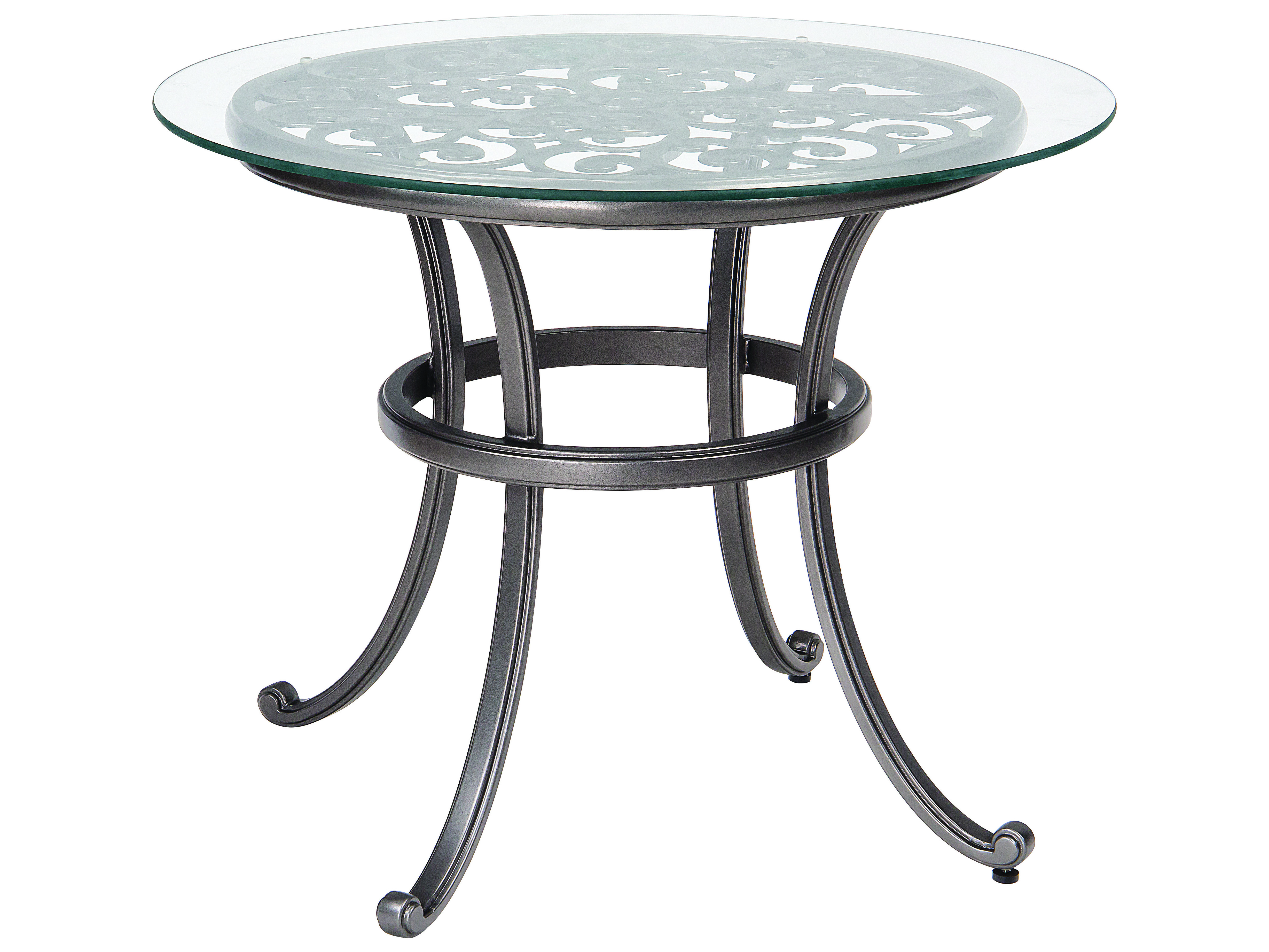Table Bistrot Aluminium Woodard New Orleans Cast Aluminum 36 Round Glass Top