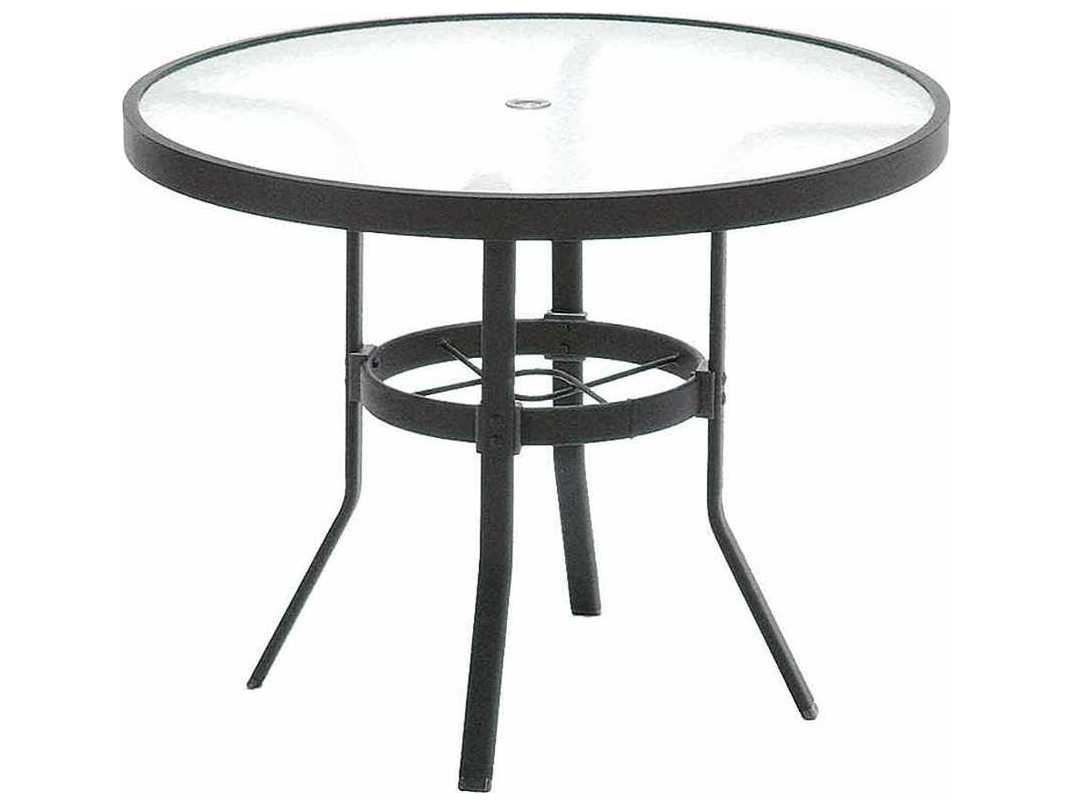 Cafe Table Winston Obscure Glass Aluminum 36 Round Kd Cafe Table With Umbrella Hole